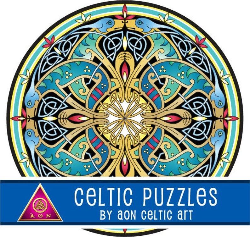 CELTIC Jigsaw PUZZLE  Celtic HOUNDS Mandala  300 Pieces  image 1