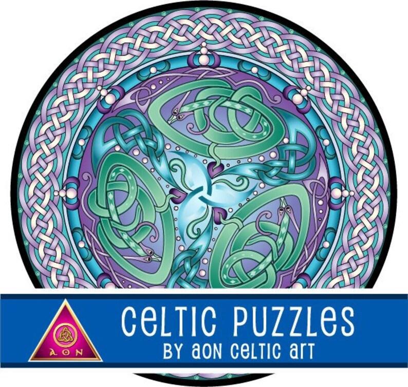 CELTIC Jigsaw PUZZLE  Celtic Water DRAGONS Mandala  300 image 1