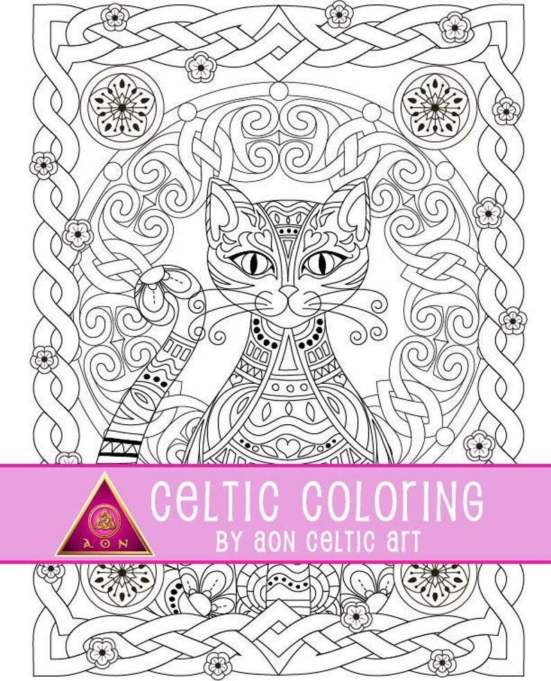 Celtic Cat  coloring page image 0