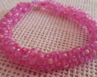 Fuchsia bead woven bracelet
