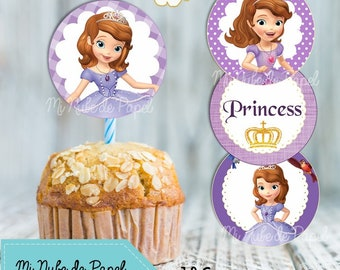 Sofia the first 12 Cupcake toppers  party birthday instant download - Digital file
