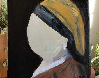 The faceless girl with a pearl earring, inspired by Johannes Vermeer. acrylic on canvas 9x12.