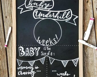 Weekly Pregnancy Sign, Chalkboard Pregnancy Template, Trimester Sign, Gender Neutral, Mommy-to-be, Pregnancy Announcement, baby bump, reveal