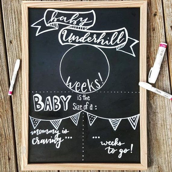 Weekly Pregnancy Sign Chalkboard Template