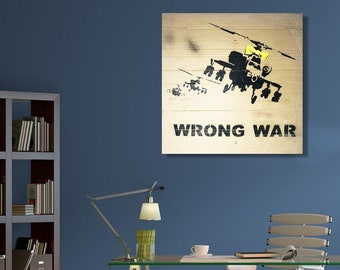 """Apache Helicopter Over Farm Field by Banksy 24x36/"""" Canvas Print Urban Graffiti"""