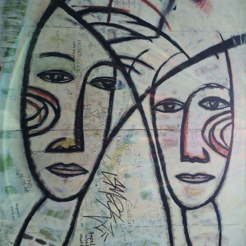 Large Graffiti Wall Metal Art Print Two Women s Heads  e1fad40feb