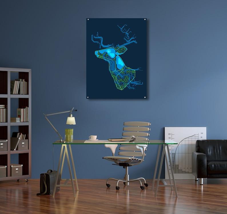 Extra Large Wall Metal Art Print Metal Poster Minimalism Digital Art Neon Deer Circuit Board  Pattern