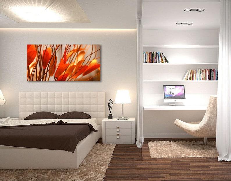 Oversized 24x48 Living room Office Photo on Metal Orange Leaves Flowers Extra Large Wall Metal Art Modern Floral Art for Bedroom