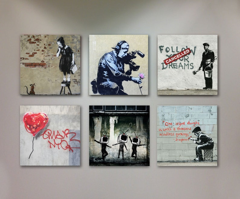 Banksy Kids On Guns Hill Reprint on Framed Canvas Wall Art Home Decoration