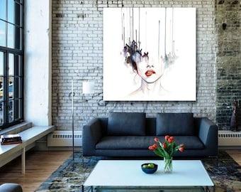 Extra Large Modern Wall Art Printed On Metal U2013 Watercolor Woman Face U2013  Trending Nowu2013