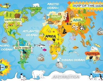 World animals map etsy kids room world animal map large kids wall metal art print play room gumiabroncs Image collections
