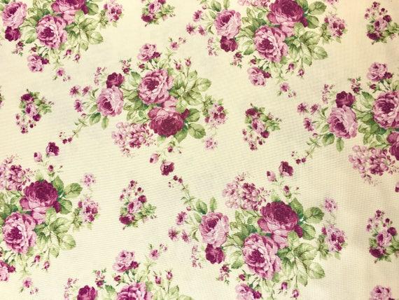 Cabbage Rose Fabric Purple Rose Fabric Vintage Fabric Etsy