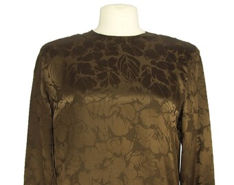 Style 4091 Dark Brown Silk Jacquard Blouse