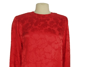 Style 4060 Lacquer Red Silk Jacquard Blouse
