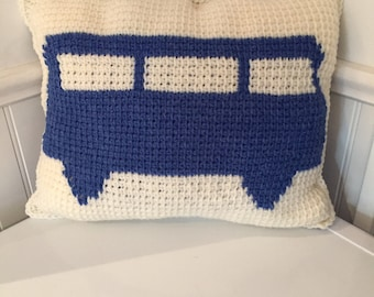 Vintage bus pillow