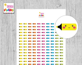 60% OFF hilighter planner stickers, kawaii pen sticker, planner stickers, printable stickers, planner accesories, important, cute/school