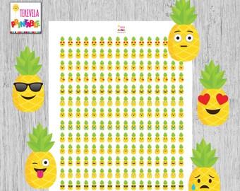 60% OFF PINEAPPLE emoji planner stickers, emoji planner stickers, mood stickers, planner accesories, emoticons stickers, printable. A022