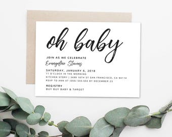 Oh Baby black and white baby shower invitation (digital, printable design)