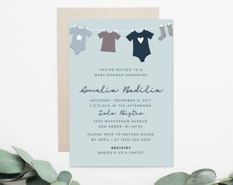 Baby Clothesline Baby Shower Invitation, Baby Girl Invitation, Baby Boy Invitation, Gender Neutral Invitation