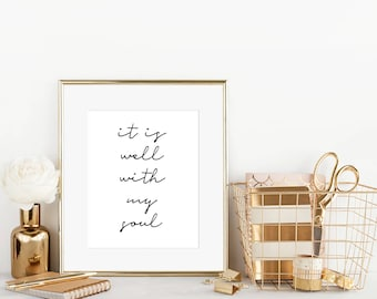 It is Well With My Soul Christian Wall Art, Digital Art, Printable Art, Home Decor, Hymn Wall Art