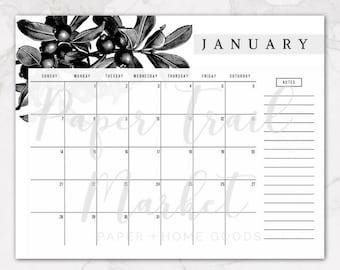 Vintage Botanical 2018 Printable Wall Calendar, Vintage Black and White Botanical Calendar, Floral Calendar