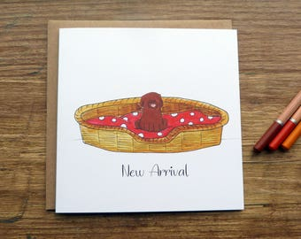 New Arrival Greetings Card - Cute Handmade Watercolour Puppy Celebration Labrador