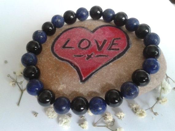 Lapis Lazuli and Black Tourmaline Bracelet 4mm beads