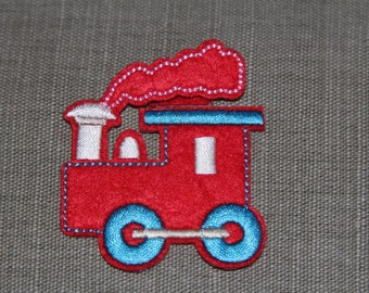 Coat, fusible felt and red train embroidery design Applique iron-on or sew