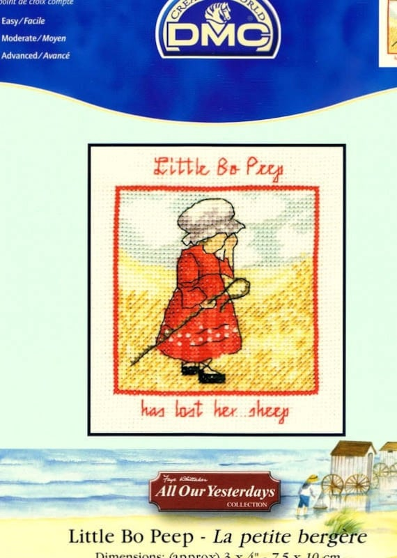 Cross stitch Kit counted DMC white Aida canvas the little Shepherdess 75 x 10cm