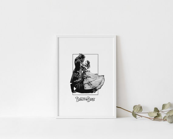 Beauty And The Beast Print Silhouette Art Print Pen Etsy