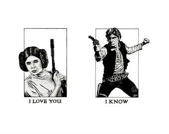 Han Solo and Princess Leia (I love you, I know) Mounted Print