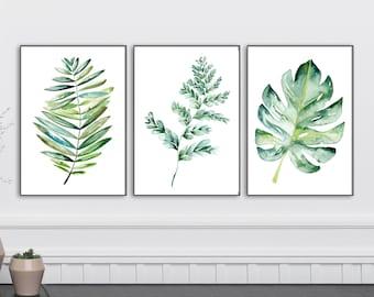 Botanical Print Set, Large Printable Watercolor Illustration, Botanical wall art instant download, Boho Leaf print set