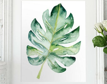 Watercolor Leaf Plant print, Monstera Wall art digital print, Botanical painting with a tropical feel, Printable artwork of a house plant
