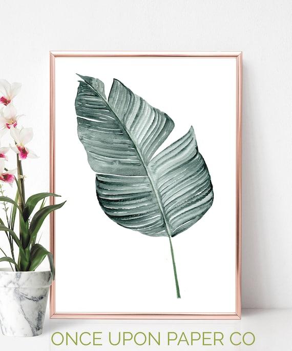 banana leaves art plant leaf art print banana printable etsy