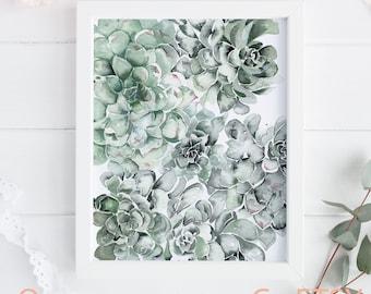 Succulent watercolor print for walls, Instant download green Cactus decor, Wall art printable plant illustration
