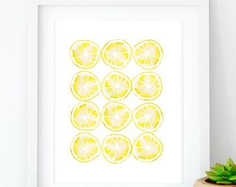 Lemon botanical art print, Kitchen wall art, lemon decor, lemon print, printable kitchen decor, Food wall art, Yellow home decor, digital