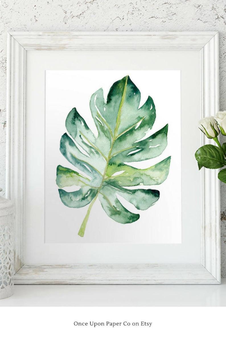 Watercolor Leaf Plant print Monstera Wall art digital print image 0