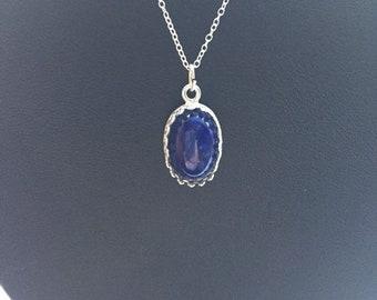 Crown set Lapis Lazuli Oval Cabochon Pendant