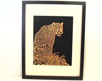 Spotted Leopard  scroll saw art  Framed