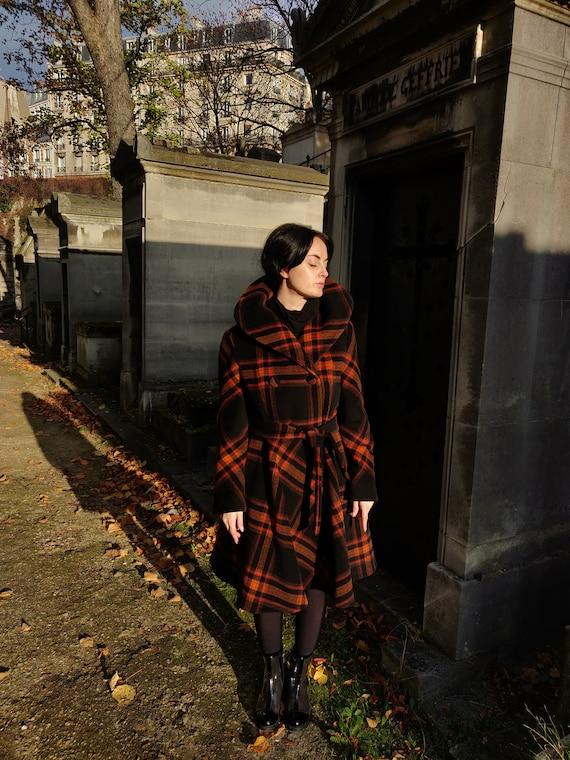 1960s True Lilli Ann Plaid Wool Princess Coat