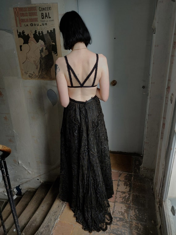 French Victorian Walking Bustle Mourning Black Lac