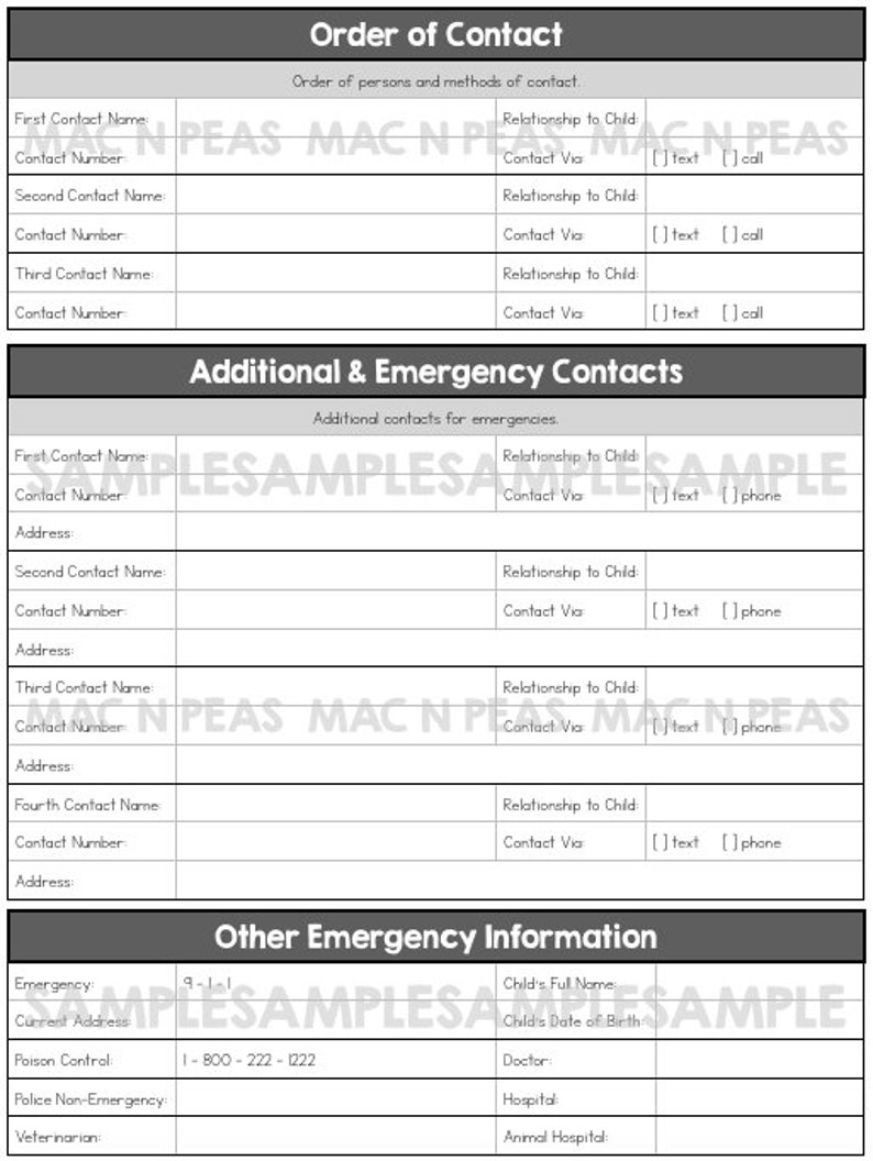 Complete Babysitter Guide Printable Emergency Contact ...
