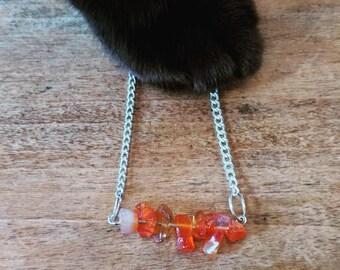 Raw Carnelian Bar Necklace