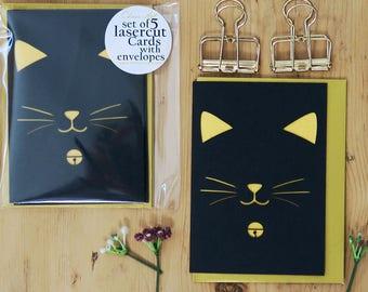 Set of 5 cat cards, Kitten card pack, Cat lover cards, Cat cards, Cat birthday card, Birthday cat cards, Kitten cards, Cute birthday card