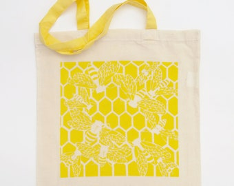 Bee tote bag, Long handle tote bag, Screenprint tote bag, Large shopping bag, Shopping canvas bag, Canvas tote