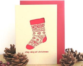 Santa stocking card, Christmas cards, Boyfriend Christmas card, Christmas card for men, Son Christmas card, Christmas card set, Card pack