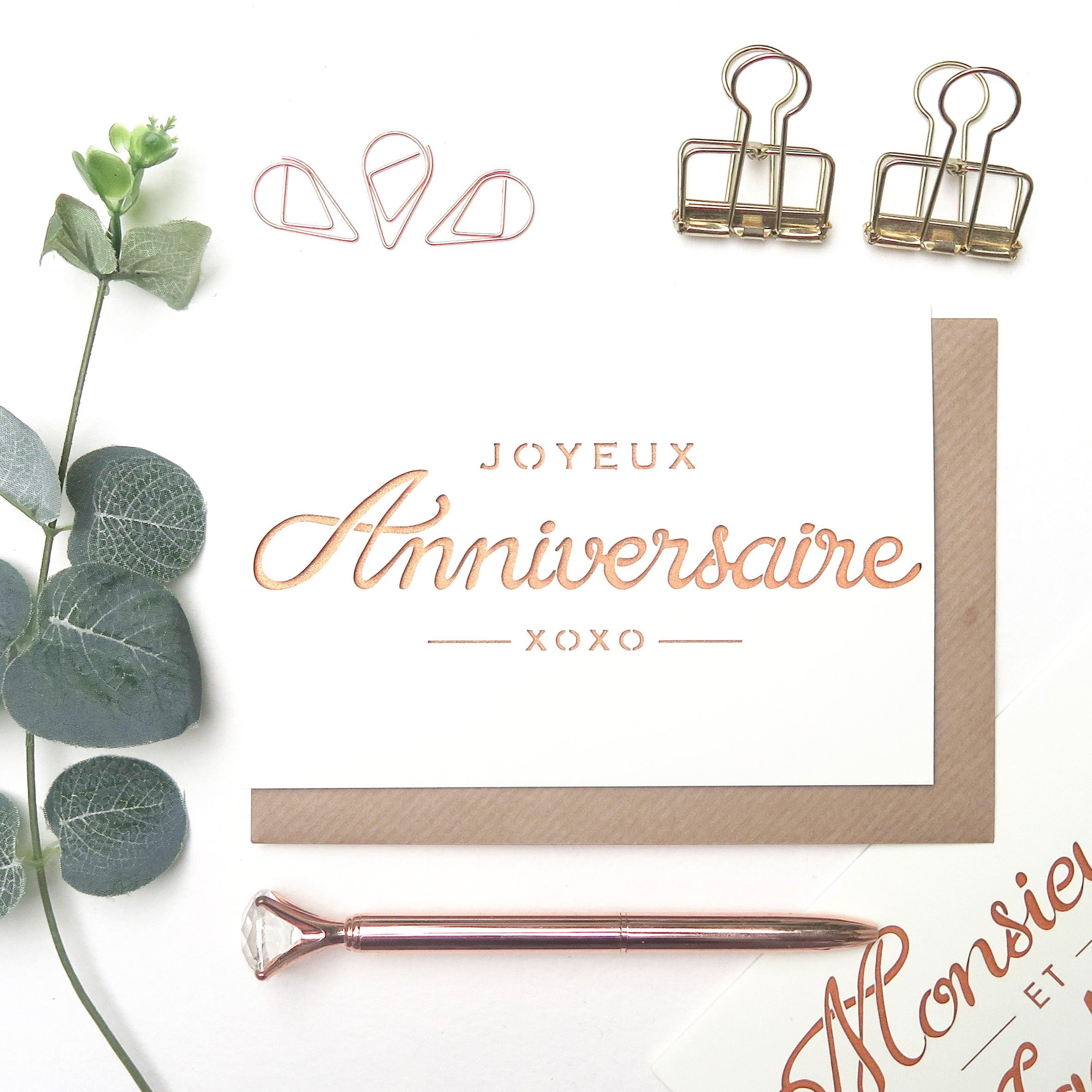 French Birthday Card Joyeux Anniversaire Happy