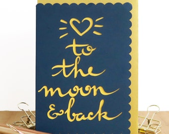 To the moon and back card, Valentine's Day card, Anniversary card, Romantic card, Card for boyfriend, Card for girlfriend, Card for husband
