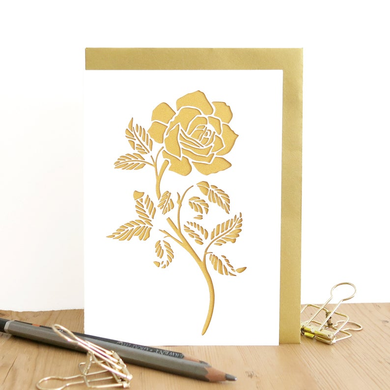 Love you card Rose lover card Wedding anniversary card Card for girlfriend Romantic anniversary card Card for wife Gold rose card