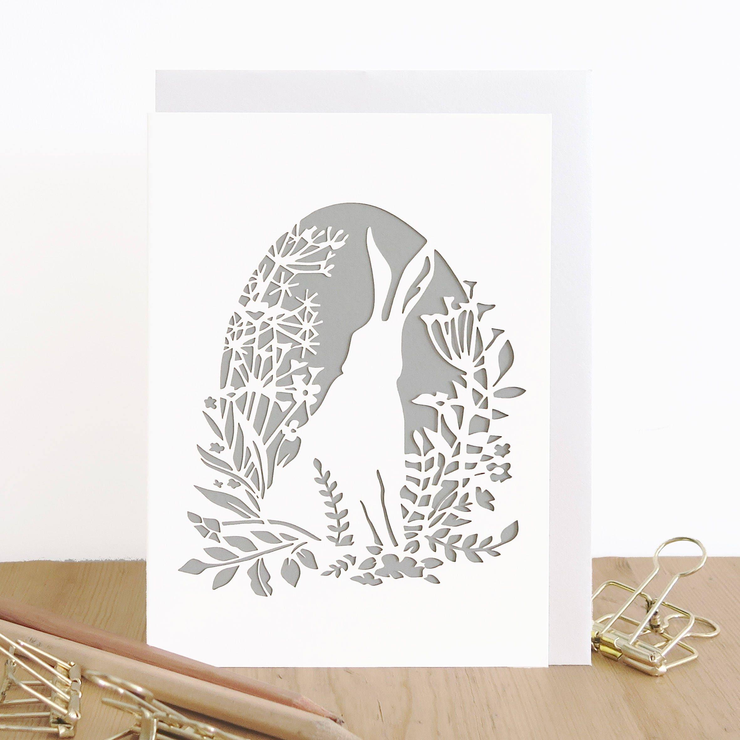 Hare birthday card Hare card Hare lover card Bunny card | Etsy